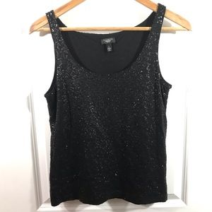 Talbots Sequinned Black Tank Top Small